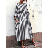 Women 3/4 Sleeve O Neck Casual Loose Stripe Long Maxi Dress