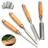 4Pcs Wood Carving Roughing Hand Chisel Tool Kit Set Working Professional Gouges
