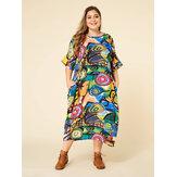 Bohmian طباعة التباين اللون بات كم جيب فستان ماكسي