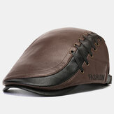 Men's Artificia Leather Beret Caps