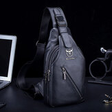 Men Genuine Leather Large Capacity Shoulder Crossbody Bag