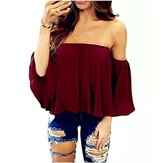 Pure Color Off Shoulder Loose Chiffon Casual Blouse