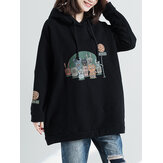 Hooded Cartoon Print Hoodies Sweatshirt