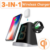 Bakeey 3 in 1 10 W Qi Hızlı Kablosuz Şarj Dock Pad Stand Holder için iPhone Airpods için Apple Watch 2 3 4