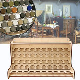 50 Pots Wooden Pigment Bottles Storage Organizer Color Paints Stand Rack Holder