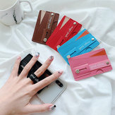 Bakeey Universal PU Leather Push Pull Sticker Phone Bracket Wristband Finger Holder with Card Slots