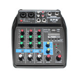 TU04 Mini 4 Channel Audio Mixer with Sound Card Mixing Console Support bluetooth USB Bass for Home Music Webcast K Song