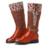 SOCOFY Pattern Leather Stitching Mid Calf Boots