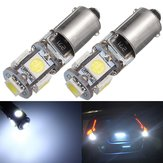 2PCS BAX9S H6W 5-SMD LED Side Marker Lights Tail Parking Interior Bulbs Canbus Error Free 12V 6000K White