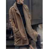 ErkekPlusBedenYünKarışımıÇift Taraflı Giyilebilir Kalınlaştırmak Ceket