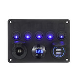 12 / 24V 5 Gang Blue LED Panneau de commutateur à bascule Double USB Car Boat Marine RV Truck ON-OFF