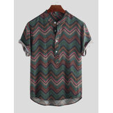 Mens Weave Printed Chevron Stand Collar Henley Shirts