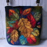 Donne Colorful Leaf DIY Lamb Capelli Crossbody Borsa Spalla Borsa