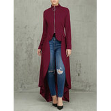 Women Zip Up High Low Long Coat Blouse Shirt