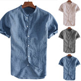 Men Linen Short Sleeve Shirt Beach Loose Soft Casual Collarless Shirt Top Blouse