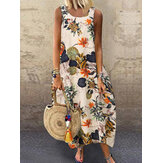 Sleeveless O-neck Loose Causal Floral Print Maxi Dress