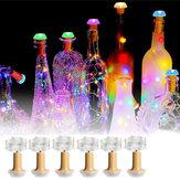 1 ШТ. 6 ШТ. Солнечная Приведенная в действие Бутылка Медь Пробка Провод LED Фея Строка Свет Партия Рождество Лампа