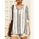 Women Chic Print V-neck Half Wooden Button Overhead Blouse