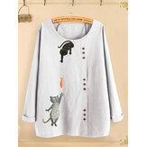 Button Cartoon Cat Print O-neck Casual Blouse Shirts