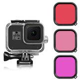 Roxo / Vermelho / Rosa Filtro de Lente de Mergulho para GoPro Hero 8 Preto com Proteção à prova d'água Caso