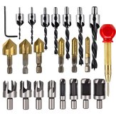 Drillpro 23Pcs Woodworking Chamfer Countersink Drill Bit 6pcs 1/4 Inch Hex 5 Flute 90 Degree Countersink Drill Bits 7Pcs 3 Pointed Countersink Drill 8Pcs Wood Plug Cutter Automatic Center Pin Punch