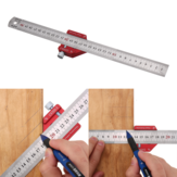 Drillpro CX300-2 Adjustable 45/90 Degree Metric and Inch Line Scribe Ruler Positioning Measuring Ruler 300mm Marking Ruler Woodworking Tool