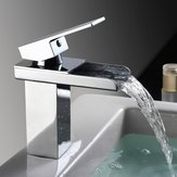 Bathroom Waterfall Basin Sink Faucet Square Hot Cold Water Mixer Tap Chrome