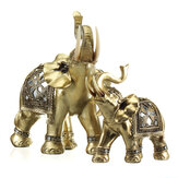 Lucky Charm Fengshui Mascot Golden Elephant Resin Mini Statue Home Desk Ornaments Gifts Home Decorations