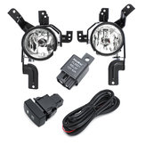 Car Front Bumper Fog Lights Lamps with Bulb Wiring Harness Pair For Honda CR-V CRV 2007-2009