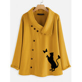 Women Causal Button Cartoon Cat Print Blouse