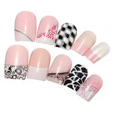 24 pcs 3D French Acrylic Glitter False Nail Full Tips 10 Style