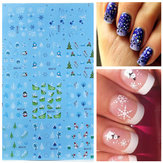 BLE Snowflake French Nail Art Tips Water Transfer Decals Sticker