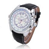 JARAGAR التلقائية الميكانيكية PU حزام ساعة يتصل أزياء كبير