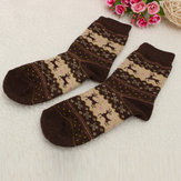 Womens Winter Christmas Snowflake Deer Design Wool Middle Tube Socks