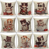 Linen Cute Cats Pillow Case Home Soft Decor Cushion Cover