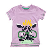 2015 New Little Maven Summer Baby Girl Child Zebra Pink Cotton Short Sleeve T-shirt Tee