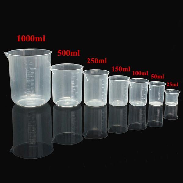 25ml до 1000 мл окончил прозрачную пластиковую мензурку объемный контейнер для лаборатории