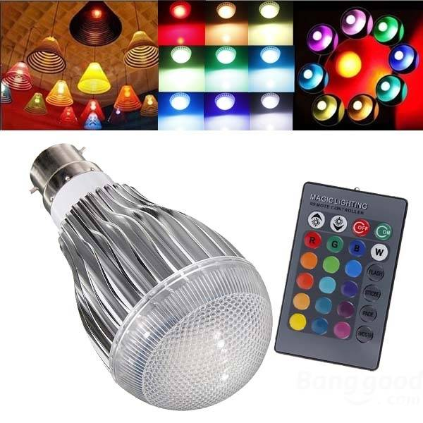 B22 9W RGB AC 85-265V LED Magic Light Bulb Lamp With IR Remote