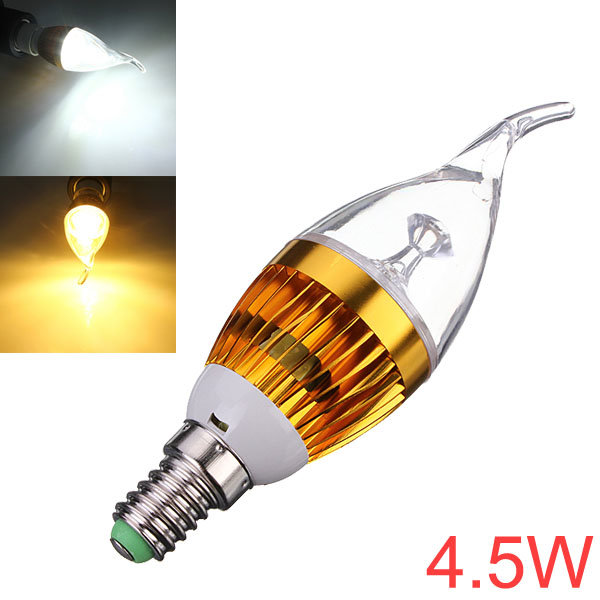 Dimmable E14 4.5W White/Warm White LED Chandelier Candle Light Bulb