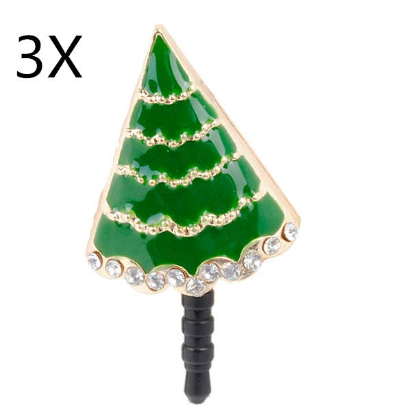 3x Christmas Gift Tree Cell Phone Anti Dust Plug For Mobile Phone