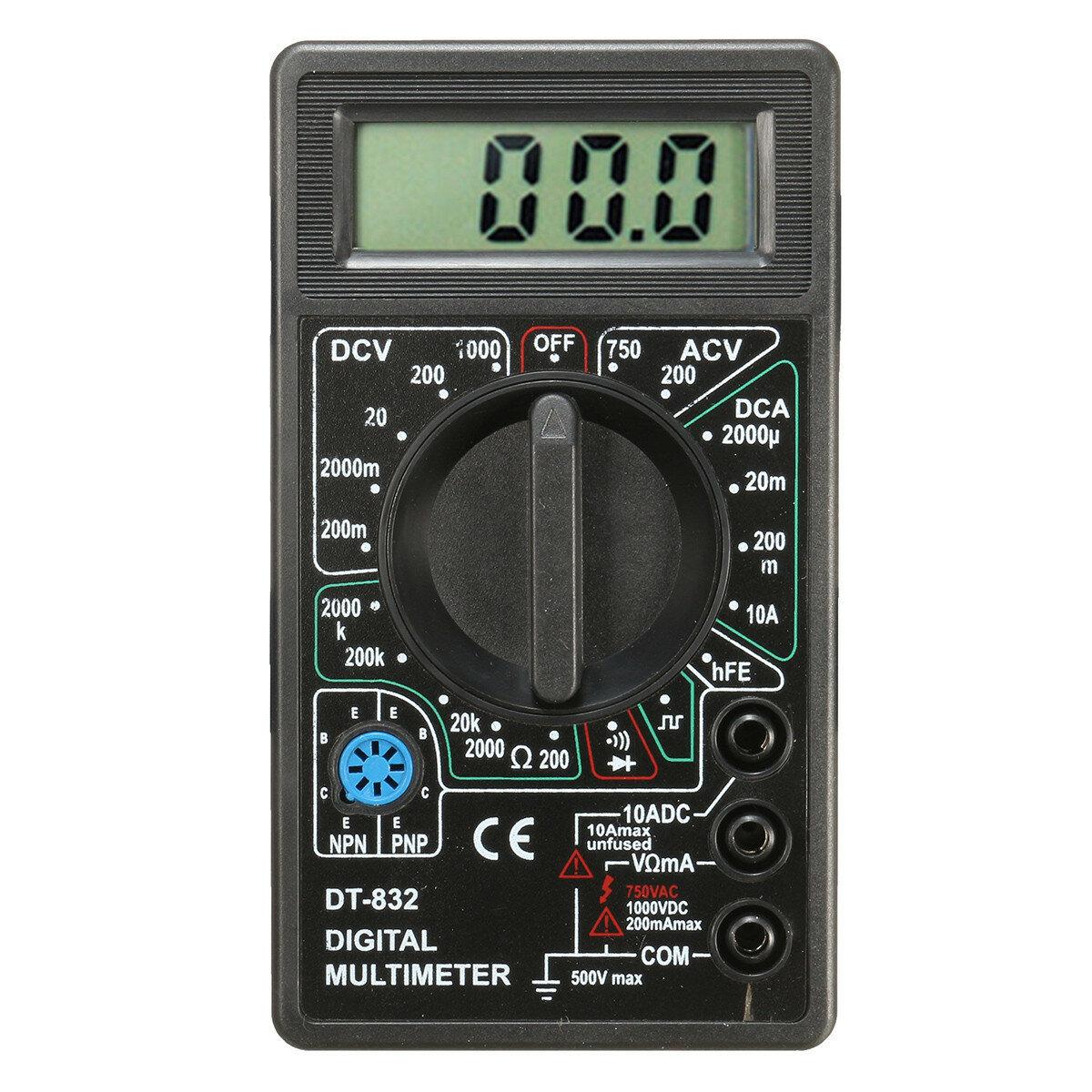 DANIU DT832 Digital LCD Multimètre Ohm Voltage Ampère Mètre Buzzer Fonction avec Test de Sonde
