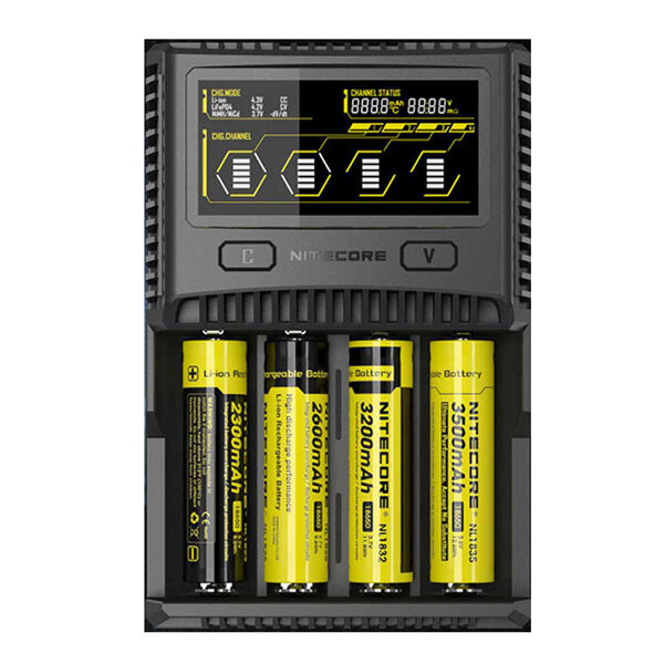 Nitecore SC4 LCD عرض USB Rapid Intelligent Li-ion / IMR / LiFePO4 / Ni-MH البطارية شاحن For all all البطارية
