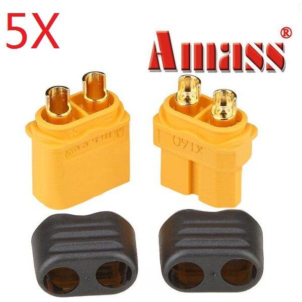 5 Pares Amass XT60+ Enchufe Conector con Funda Macho & Hembra