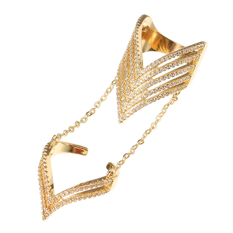 24K Gold Plated Punk Arrow Shape Chain Linked Two Rings Statement Sparkling Zircon Jewelry for Women