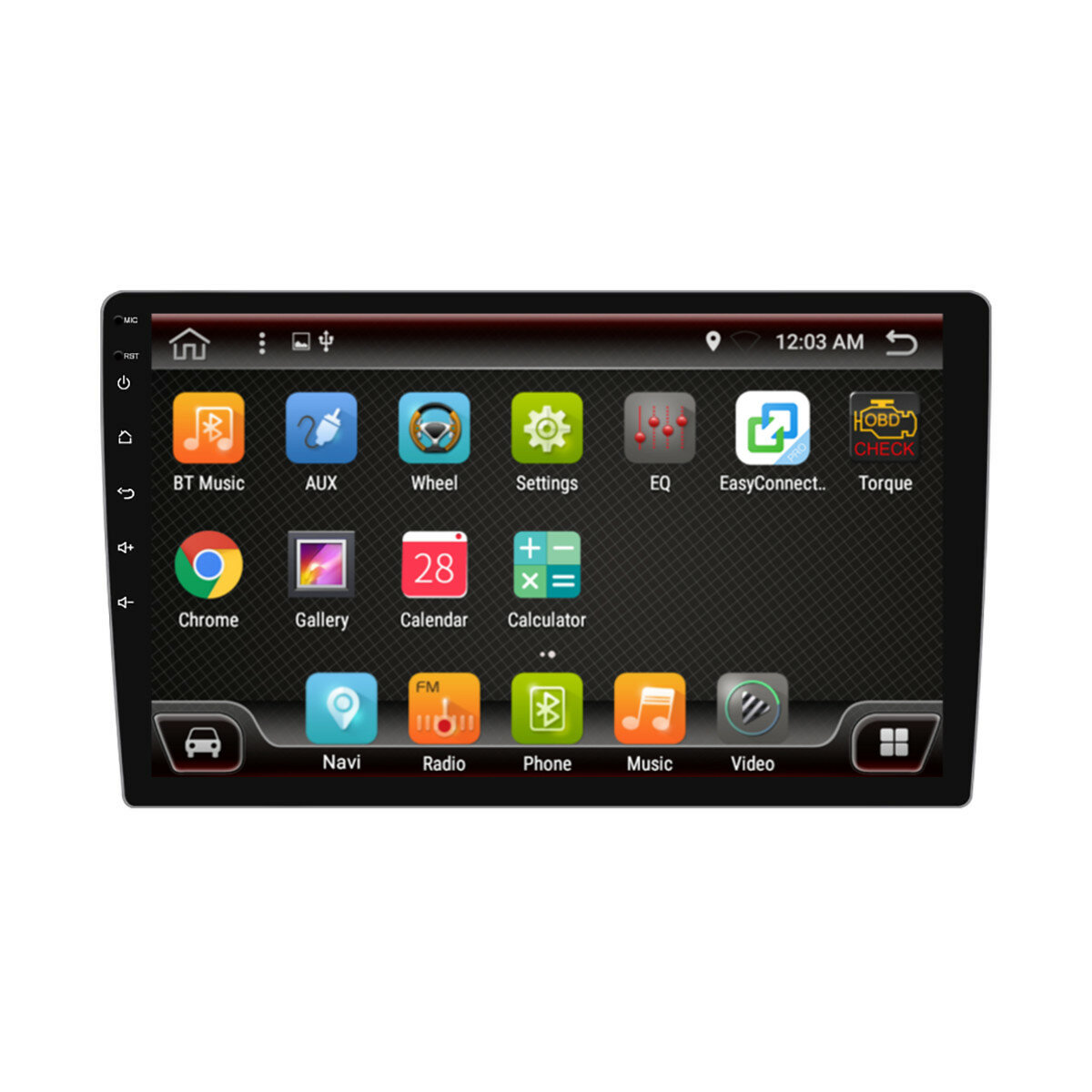 PX6 10.1 Inch 1 DIN 4 + 64G para Android 9.0 Coche Reproductor MP5 8 Pantalla táctil central estéreo GPS bluetooth RDS FM AM Radio