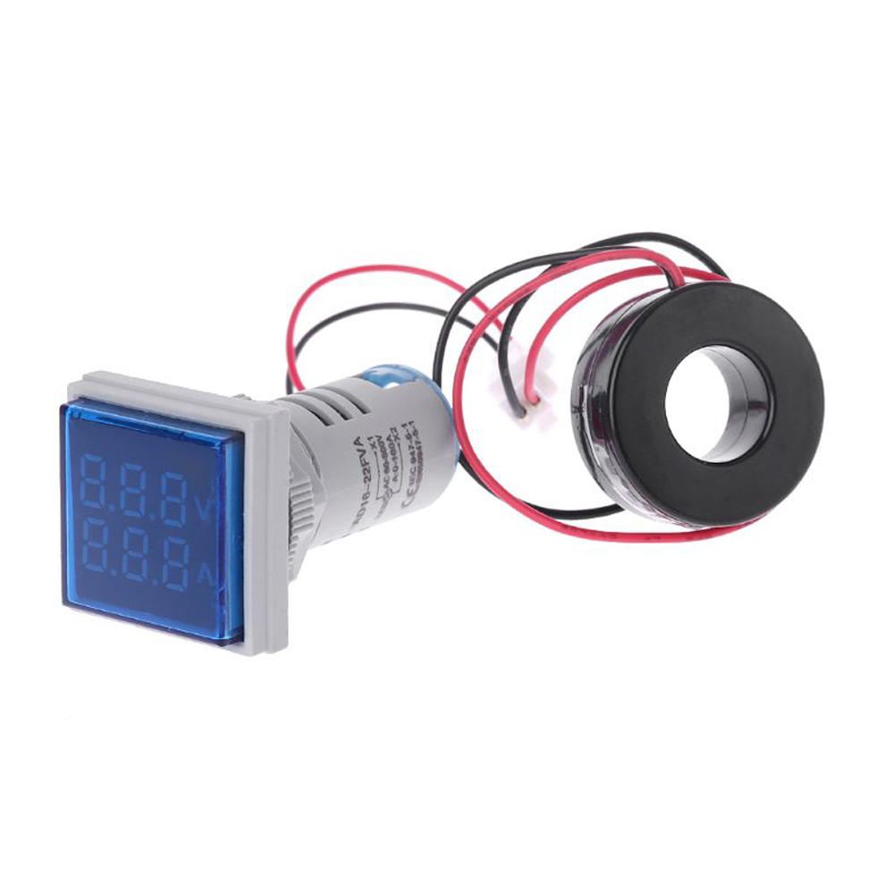 5pcs Blue Light AC 60-500V 0-100A D18 Square LED Digital Dual Display Voltmeter Ammeter Voltage Gauge Current Meter