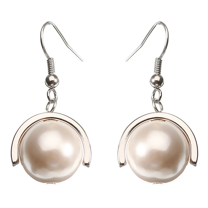 JASSY® Pearl Pendant Earring Rose Gold and Platinum Plated Elegant Dangle Anallergic Jewelry Gift