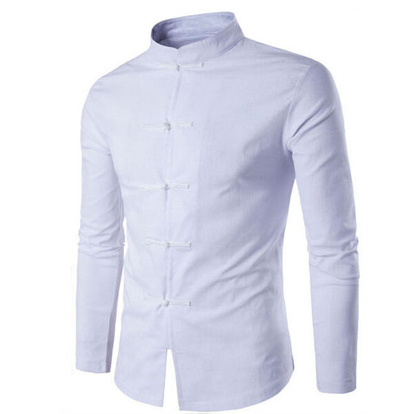 Mens Lino estilo chino Collar de pie casual manga larga de la vendimia Slim Fit camisa