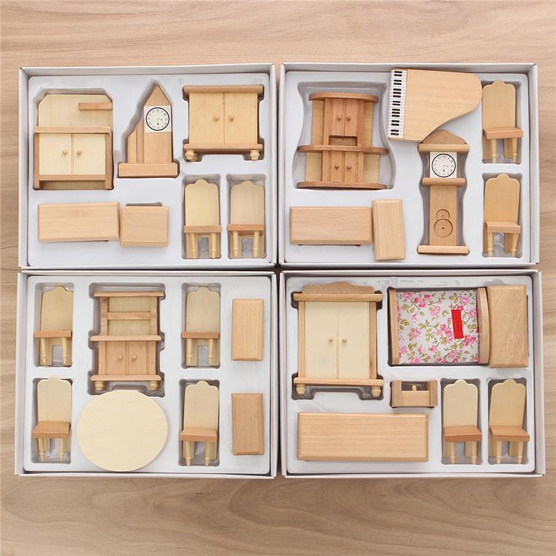 Nouveau 29 Pcs 1 24 Echelle Maison Poupee Miniature Meubles En Bois Non Peintes Modele Kit