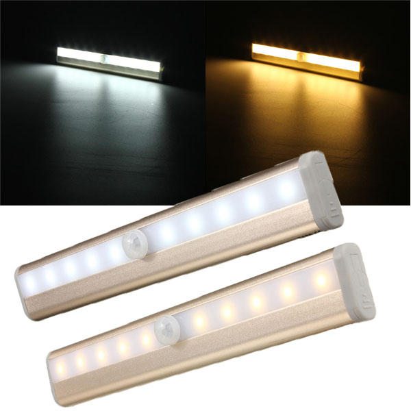 10 LED Cabinet Light PIR Human Body Motion Sensor Lamp Cupboard Closet LED Night Light LED Strip Light 6V